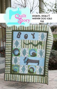 PDF Quilt Pattern Boy Pattern Dog Wiener Dog Tails by QuiltStory, $9.00