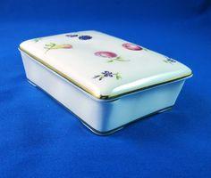 Aynsley White Florida Bone China Trinket Box & Lid Painted Fruit Flowers England #Ansley
