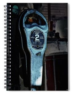 'Expired' Vintage Parking Meter Spiral Journaling Notebook  The image is of an vintage parking meter that has been digitally enhanced. Use the journal for Mira's of topics, perhaps to remind you life has no limits but our time is limited. Use it as a daily diary. Great gift idea for most anyone. We also carry this image for prints textiles and other gift choices. #parkingmeter #vintage #notebook #spiral #journal #diary #journaling #giftideas #gifts