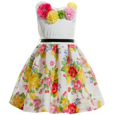 Monnalisa Cotton Floral Dress with Belt  at Childrensalon.com
