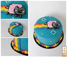 http://www.paintcakes.com  nyan cat, cake, cakes, birthday cake, gateau d'anniversaire, geek, nerd, livraison, paris, sur mesure, personnalisé, rainbow cake