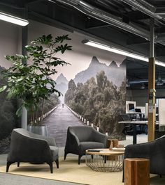 Metromile Office Headquarters by Geremia Design. Lounge with photomural.