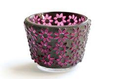 Fuchsia Flowers - Mosaic Candle Holder