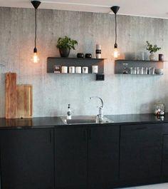A Finnish home in a converted factory Modern Kitchen Interiors, Interior Design Kitchen, Black Kitchens, Cool Kitchens, Dining Table In Kitchen, Kitchen Decor, Kitchen Organisation, Scandinavian Kitchen, Kitchen Shelves