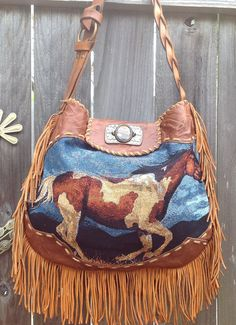 Native American  Paint  Pony Tapestry  Tooled Leather Fringe Handbag Using Vintage Findings