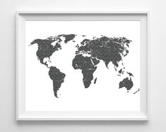 World Map Print Printable Black White Wall Art by Designsbyritz