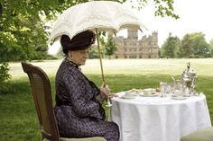 Downton Abbey: Lady Violet, Dowager Countess of Grantham at proper English tea