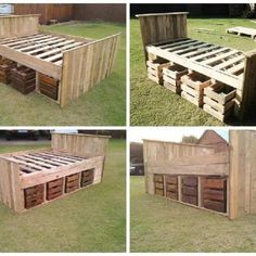 A complete palletbed frame made from repurposed pallets and with four drawers on each side to store all your things. The drawers could also be done from pallets or you can use some old apple wooden crates. An excellent design for this pallet bed! Pallet Bed Frames, Diy Pallet Bed, Diy Pallet Projects, Pallet Couch, Pallet Crafts, Wooden Projects, Recycled Pallets, Wooden Pallets, 1001 Pallets