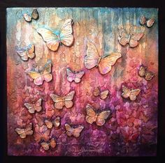 Apply Media Crackle Paste through stencils onto a canvas base     Embellish with paper clay butterflies        Apply Media Fluid Cobalt...