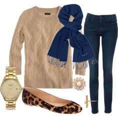 jeans, beige sweater, blue scarf, leopard flats, gold jewelry