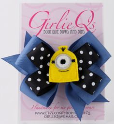 Despicable Me Minion Hair Bow Hair Clip 5 x 4 by GirlieQs on Etsy, $7.50