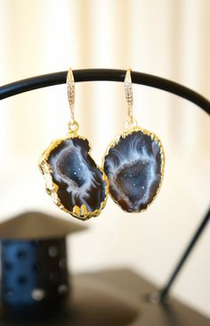 Divinely Starry Night Geode Druzy Earring  Agate by VintagePinch #etsy #musthave #loveit #pinterest #gifts #holidays #sale #momblogger #momfashion #fashionfind #fashionista #trendy #teacherstyle #style #blogger #blogpost #weddings #weddingblogger #weekendlook #bostonblogger #whatiwore #anthropology #handmade #happy #vogue