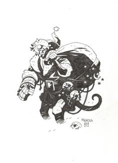 Santa Hellboy by Mignola Comic Art