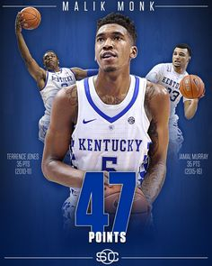 Malik Monk drops 47 points vs North Carolina Tar Heels, the most by a Kentucky Basketball freshman in school history. University Of Ky Basketball, Uk Wildcats Basketball, Basketball History, Kentucky Basketball, Kentucky Wildcats, College Basketball, Basketball Players, Basketball Rules, Sports