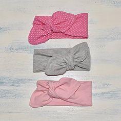 Pack de 3 Diademas de color Rosa con Topos, Gris y rosa en talla de recién nacido, bebé, niña y adulto, hechas a mano con tela de algodón, regalo ideal de San Valentín, perfecta para las niñas que quieren vestir como mamá.
