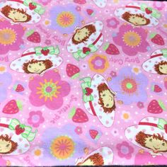 Sewing Fabric Flowers Strawberry Shortcake Flannel Fabric 28 x 44 Pink Berry Cute Spectrix 2004 Fabric Patterns, Sewing Patterns, Kids Cartoon Characters, Handmade Gifts For Boyfriend, Pink Themes, Blue Quilts, Vintage Fabrics, Strawberry Shortcake, Cotton Quilts