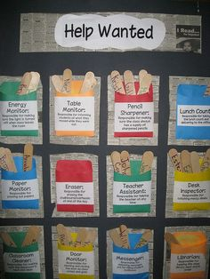 """Routines: I really like this idea for establishing weekly classroom routines. Each student puts a popsicle stick with their name on it in the pouch for whichever job they want, and the teacher selects one at random to complete the job for the week. Using newspaper clips as the background for the """"help wanted"""" theme helps make the routines seem more authentic, leading to engaged students and increased motivation in the classroom."""