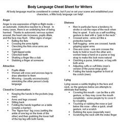 The Information Dump — Body Language Cheat Sheet. - The Information Dump — Body Language Cheat Sheet. Book Writing Tips, Writer Tips, Writing Words, Writing Resources, Writing Help, Writing Skills, Writing Ideas, Fiction Writing, Essay Writing