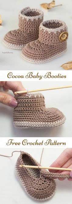 Cocoa Baby Booties Free Crochet Pattern Cocoa Baby Booties Free Crochet Pattern Very Easy Crochet Baby Booties – Learn to Free Crochet Baby BootiesCrochet Baby Booties Crochet PATTERN. Crochet Baby Boots, Booties Crochet, Crochet Baby Clothes, Crochet Slippers, Baby Slippers, Knit Baby Booties, Baby Knitting Patterns, Baby Patterns, Free Knitting