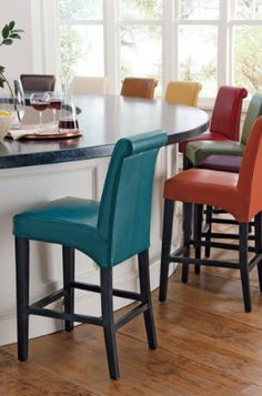 Valencia Leather Bar Stools - Grandin Road