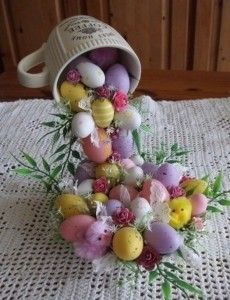 DIY Easter Decorations - Decor Ideas for the Home and Table -  DIY Easter Egg Flying Cup Topiary - Cute Easter Wreaths, Cheap and Easy Dollar Store Crafts for Kids. Vintage and Rustic Centerpieces and Mantel Decorations. http://diyjoy.com/diy-easter-decorations