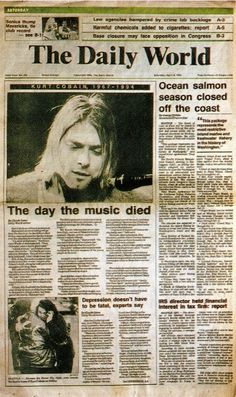 The day the music died. Kurt Cobain of Nirvana Beatles, Kurt Corbain, El Rock And Roll, Donald Cobain, Nirvana Kurt Cobain, Kurt Cobain News, Kurt Cobain Quotes, Rock Poster, Smells Like Teen Spirit