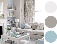 Para uma sala com clima bem suave, a combinação do azul claro com o cinza e branco é uma boa pedida. Que sensação de paz, não acham? :)