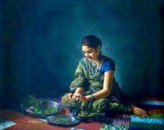 15 Stunningly Realistic Paintings by Shri Shashikant Dhotre Indian Women Painting, Indian Art Paintings, Indian Artist, Colorful Paintings, Contemporary Paintings, Beautiful Paintings, Traditional Paintings, Potrait Painting, Woman Painting