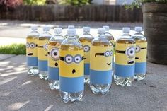Minion ring toss using water bottles