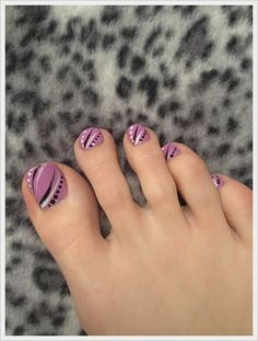 Love this pale plum color and the whimsical design! - Cute Toe Nail Art Designs 2014 #nailart