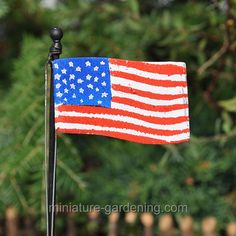 Show off your Stars and Stripes!  Dress up your miniature garden with colors of red, white, and blue by displaying a patriot flag. It even includes a 'rope' for raising and lowering the flag! This metal and resin flag is a special way to decorate for Memorial Day or the Fourth of July. Display it in the center of the French Wannabe Parterre Garden or the Primrose Curb Appeal Planter. Use mini ivory pebbles to surround it or plant a low growing groundcover like Irish or Scotch moss.  A few…