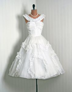 1950's Vintage CrispWhite Ruched by TimelessVixenVintage on Etsy, $350.00