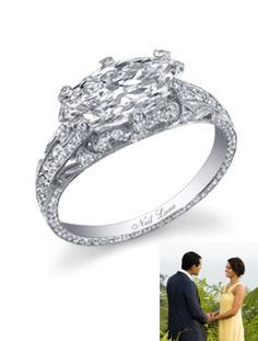 Jason Mesnick & Melissa Rycroft Season: 13 of The Bachelor Couple: Jason Mesnick and Melissa Rycroft The Ring: A hand-crafted Neil Lane marquise-cut diamond and platinum ring, that was encrusted and set with 170 smaller diamonds for a total weight of 3.18 carats. The center diamond was a 1.94-carat marquise-cut diamond.