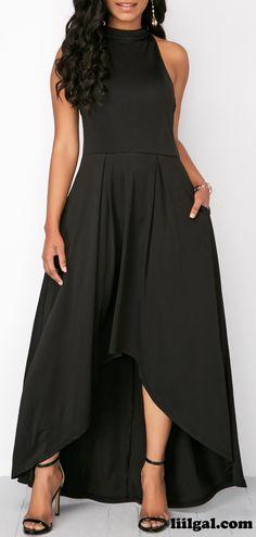 Black Zipper Back Cutout High Low Dress #liligal #dresses #womenswear #womensfashion
