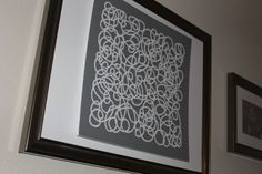 DIY artwork using lace cardstock, foamboard and a frame. Stock Art, Card Stock, Basement Living Rooms, Craft Projects, Craft Ideas, Diy Artwork, Crafting, Diy Crafts, Decorating