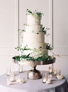 elegant white and green wedding cakes