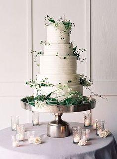 elegant white and green wedding cakes