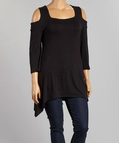 This Black Cutout Sidetail Top - Plus is perfect! #zulilyfinds