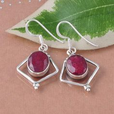 RUBY EXCLUSIVE DESIGNER 925 SOLID STERLING SILVER EARRING 5.28g DJER988 #Handmade #Earring