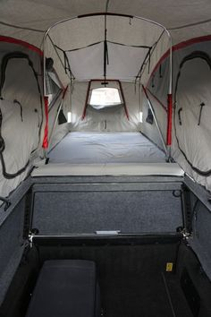 AT Overland Equipment have unveiled the all new Tacoma Habitat truck topper, a lightweight aluminum shell with robust gas springs that allow it to easily open revealing a full stand up room in the bed of the truck. With room for two adults, the shell Truck Camper, Truck Bed Camping, Truck Tent, Truck Mods, Truck Topper Camping, Pickup Camping, Truck Canopy, Motorcycle Camping, Tent Camping