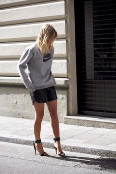 Leather shorts, heels and Nike Sweatshirt