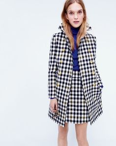 J.Crew women's double-breasted coat in oxford check.