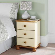 Hampton Cream Pine 3 Drawer Bedside Cabinet