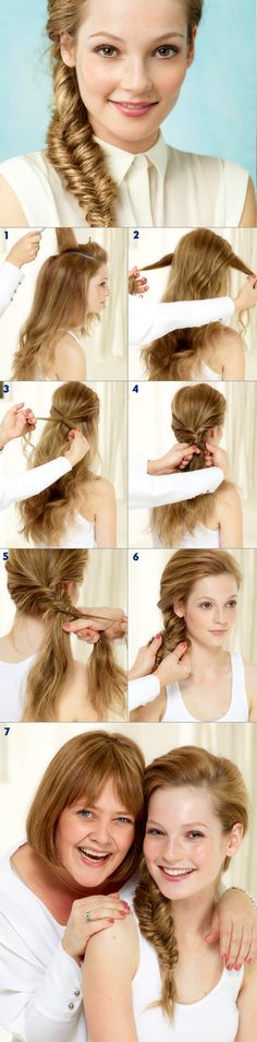 Our fishtail braid tutorial: 1.Tease the crown area of the hair to create a little volume on the top of the head. 2.Take a section of hair from either side of the head. 3.Cross the two pieces of hair over each other. 4.Take small sections of hair from the outer side of the head and pass over into the opposite section of hair. 5.Continue using the same technique right down to the bottom of the hair. 6.Pull the braid gently apart to create a fuller-looking finish. #nivea #hair #style #tutorial