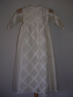 Stylish: handmade christening gown with bonnet  in silk organdie with valencienne laces from ExquisiteDesignRS by DaWanda.com