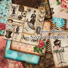 hybrid printable in a vintage style!!  steampunk & floral  Great for scrapbooking a mini album