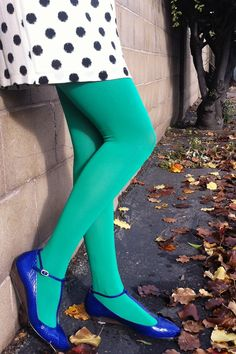 tabbisocks opaque color tights in emerald green - Collants Opaques Colors