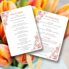 Fan Wedding Programs Gianna Coral and Silver  by WeddingTemplates, $10.00