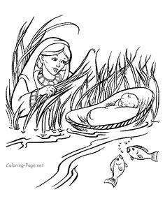 Para colorear - Moisés y la hija de Faraón