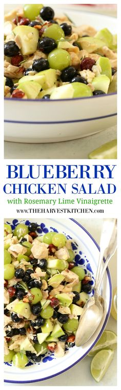 This Blueberry Chicken Salad is crisp and crunchy, juicy and flavorful, and tossed in a completely addicting Rosemary Lime Vinaigrette!